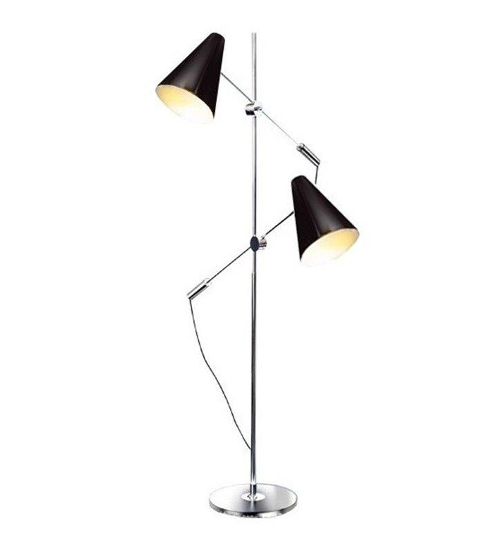Lampa podłogowa Kaja z dwoma regulowanymi czarnymi kloszami do sypialni salonu jadalni