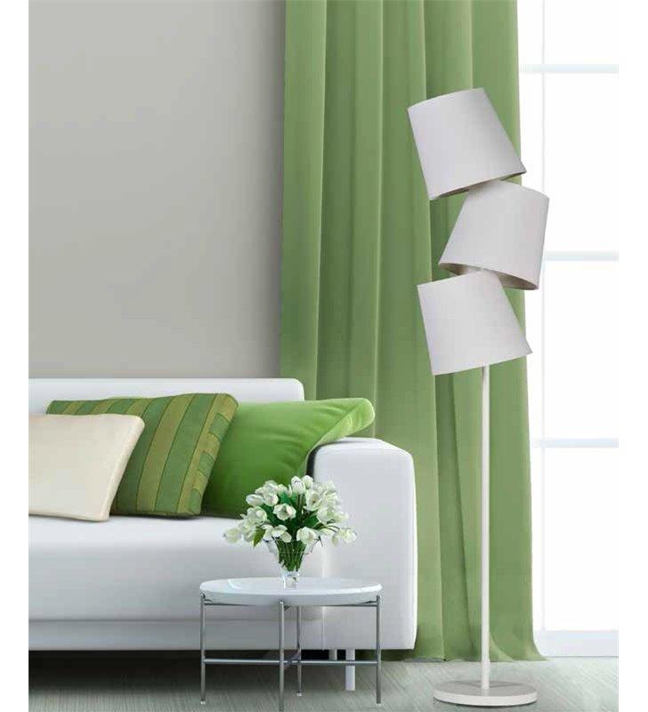 Svea biała nowoczesna lampa podłogowa z trzema abażurami