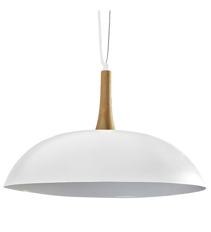 Lampa wisząca Perugia biała z drewnianym wykończeniem do sypialni kuchni jadalni salonu