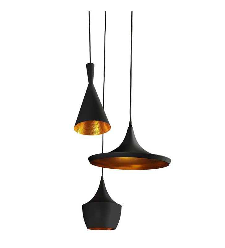 Lampa wisząca Mix czarna potrójna 3 różne kształty kloszy ze złotym środkiem na jednej okrągłej podsufitce