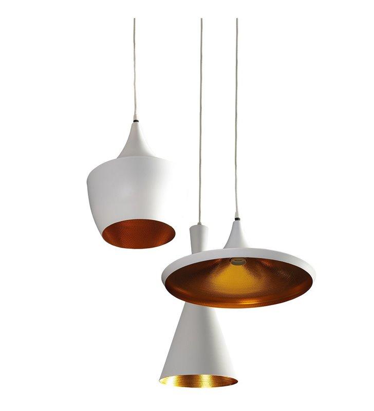 Lampa wisząca Mix biała ze złotym środkiem kaskada potrójna 3 różne kształty kloszy na jednej okrągłej podsufitce