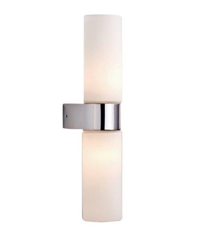 Gaia podwójny kinkiet łazienkowy chrom klosz szklany biały z 2 opcjami montażu