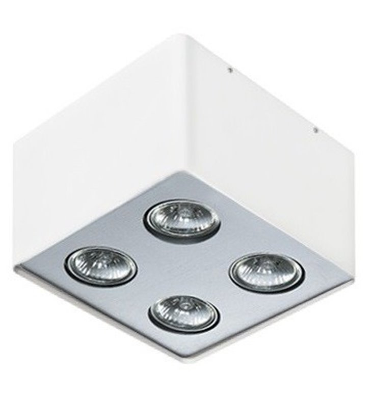 Lampa sufitowa downlight Nino 4 punktowa biała z wykończeniem aluminiowy