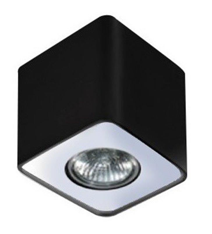 Nino lampa downlight pojedyncza kwadratowa czarna z wykończeniem w kolorze aluminium