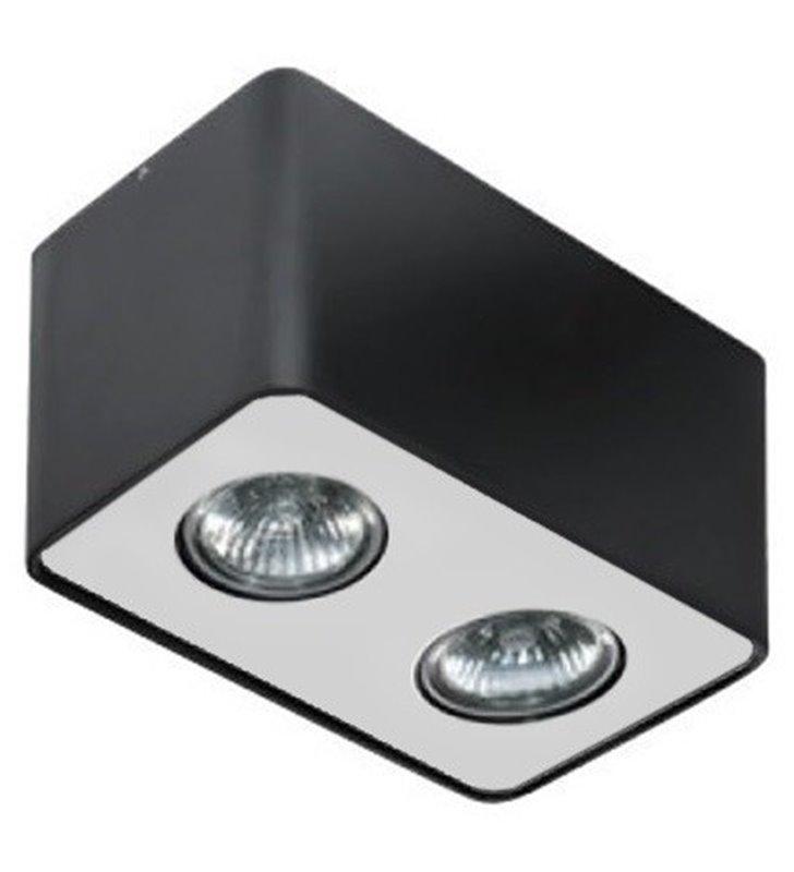 Nino podwójna lampa downlight czarna z wykończeniem aluminiowym
