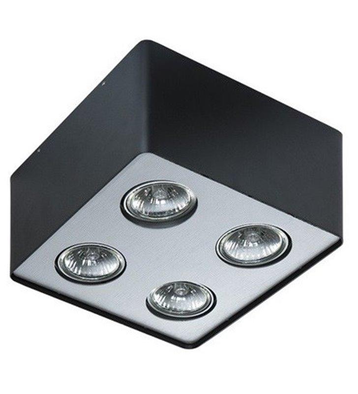 Lampa sufitowa downlight Nino 4 punktowa czarna z wykończeniem w kolorze aluminium