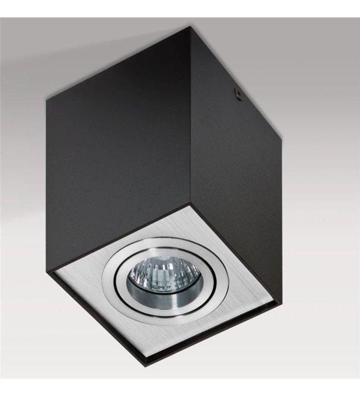 Lampa sufitowa Eloy czarna z aluminiowym wykończeniem kwadratowa typu downlight - OD RĘKI