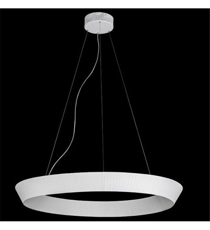 Lampa wisząca Mist LED klosz okrągły ze wstążki kolor matowe ecru