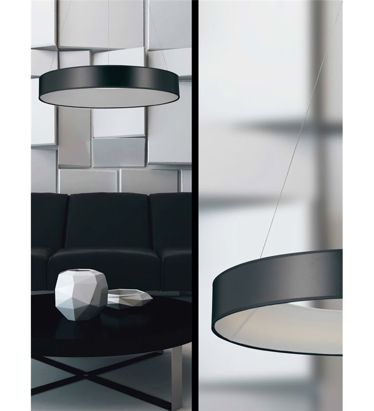 Lampa wisząca Fog (K) LED bardzo duża czarna obręcz abażur okrągły do sypialni salonu jadalni kuchni nad stół