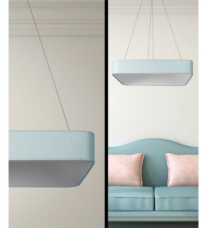Duża jasnobłękitna lampa wisząca Bonbon (K) LED idealna nad stół do jadalni kuchni salonu sypialni