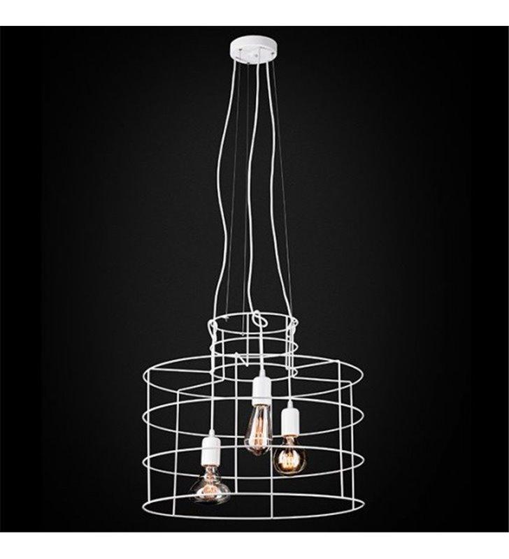 Metalowa druciana biała lampa wisząca Lana 3 żarówki 60W do sypialni salonu jadalni kuchni