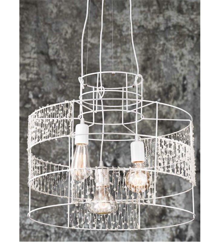 Metalowa biała druciana dekoracyjna lampa wisząca Lana do sypialni salonu jadalni kuchni