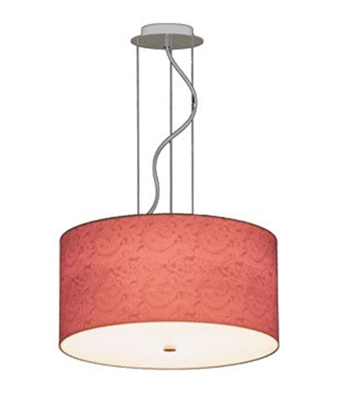 Duża lampa wisząca Bliss 700 (K) koralowy abażur ze wzorem widocznym po zaświeceniu do jadalni sypialni kuchni salonu