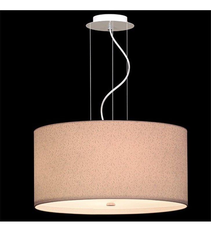 Kremowa okrągła lampa wisząca Bliss 600 (K) abażur ze wzorem widocznym po zapaleniu lampy