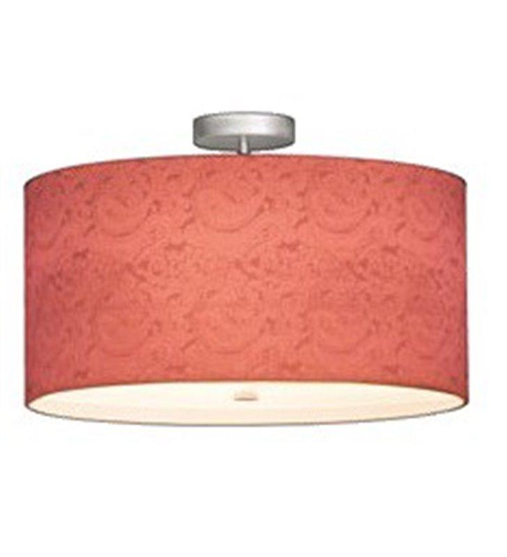 Duży plafon sufitowy Bliss 800 (K) w kolorze koralowym klosz ze wzorem widocznym po zaświeceniu lampy