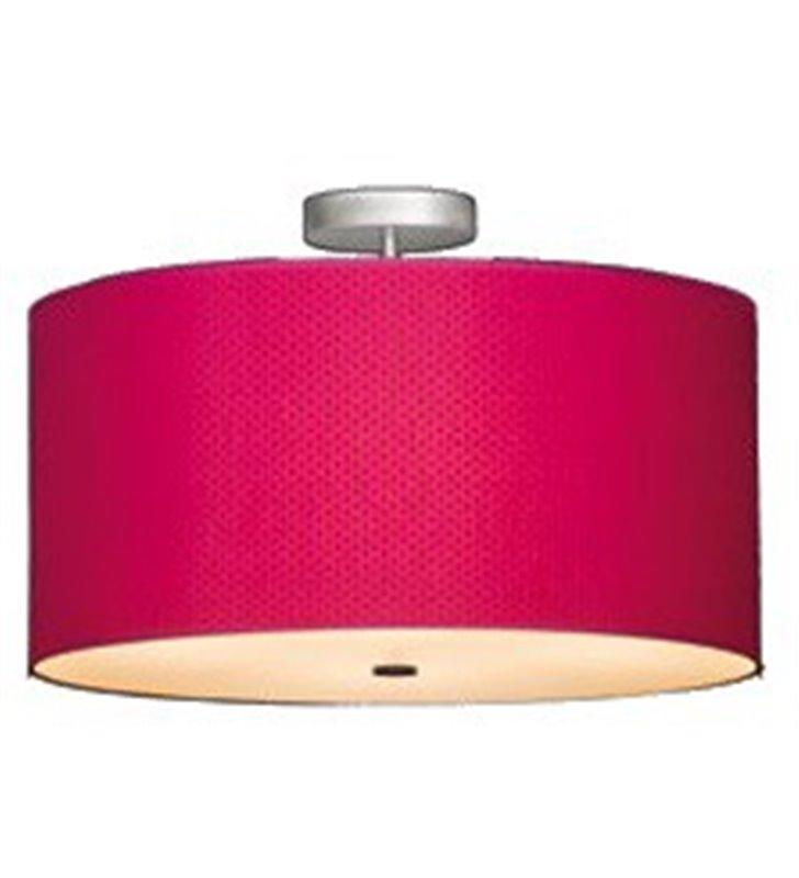Plafon duża lampa sufitowa w kolorze malinowym Bliss 700 (K) po zapaleniu lampy widoczny wzór na kloszu dużo światła