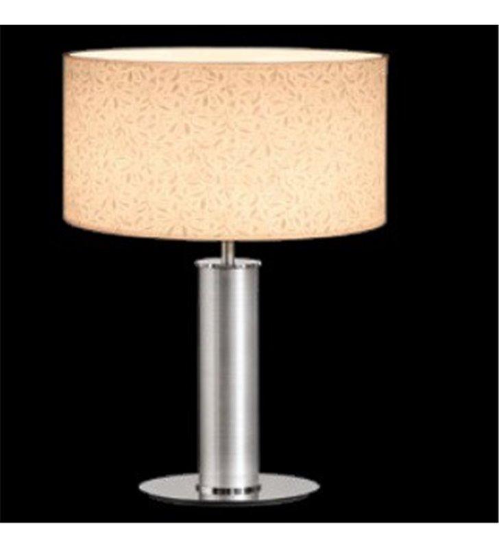 Lampa gabinetowa wysoka lampa stołowa Bliss (K) kremowy abażur wzór na materiale widoczny po zaświeceniu lampy