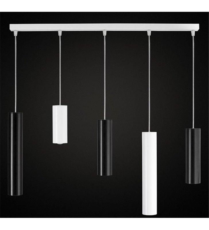 Lampa wisząca 5 punktowa Piano na belce klosze walce różnej wielkości biało czarna