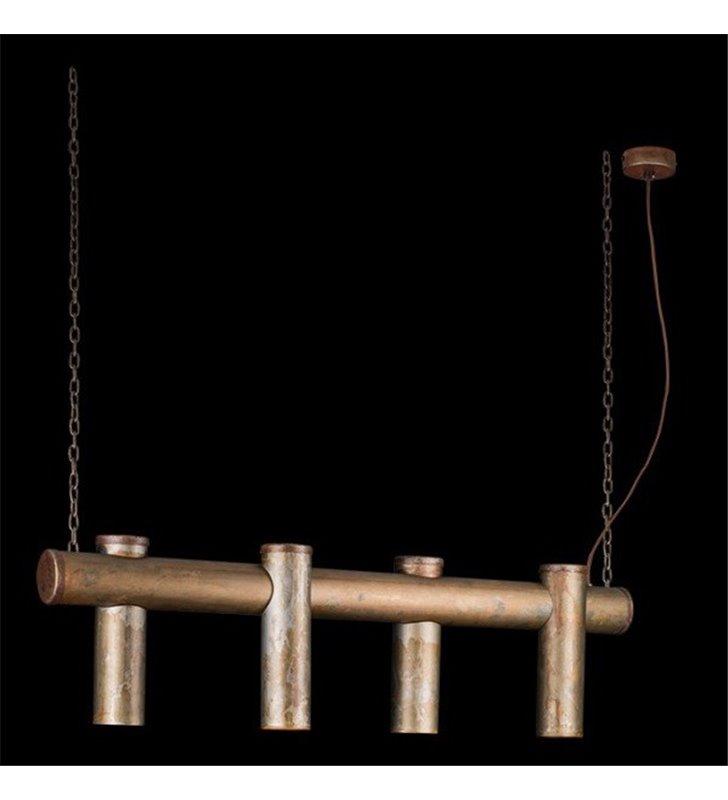 Lampa wisząca Tubo podłużna z 4 punktami świetlnymi w stylu loftowym industrialnym vintage stal rdzewiona idealna nad stół