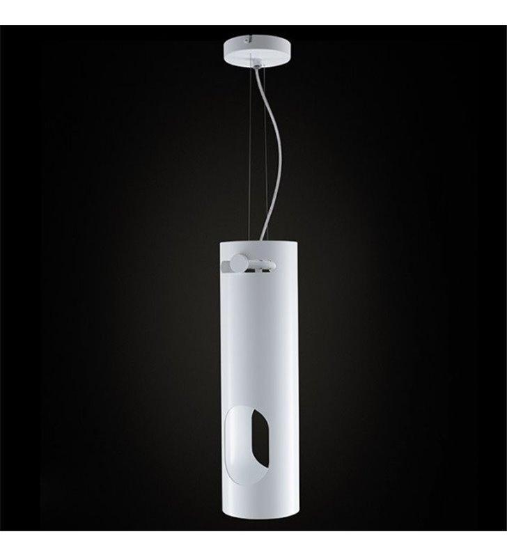 Lampa wisząca Parma podłużna biała tuba metalowa