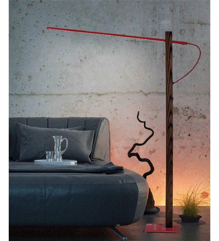 Lampa podłogowa Flaming Fornir (K) fornirowana podstawa z metalowym czerwonym kloszem LED do biura salonu sypialni składana