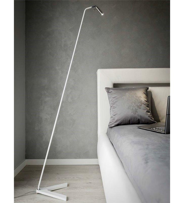 Lampa podłogowa Neve metalowa biała do biura salonu sypialni LED