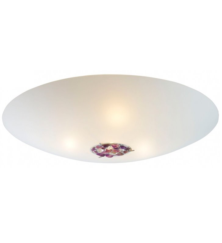 Duży okrągły biały plafon Aura 800 (K) zdobiony kamieniami półszlachetnymi ametystem
