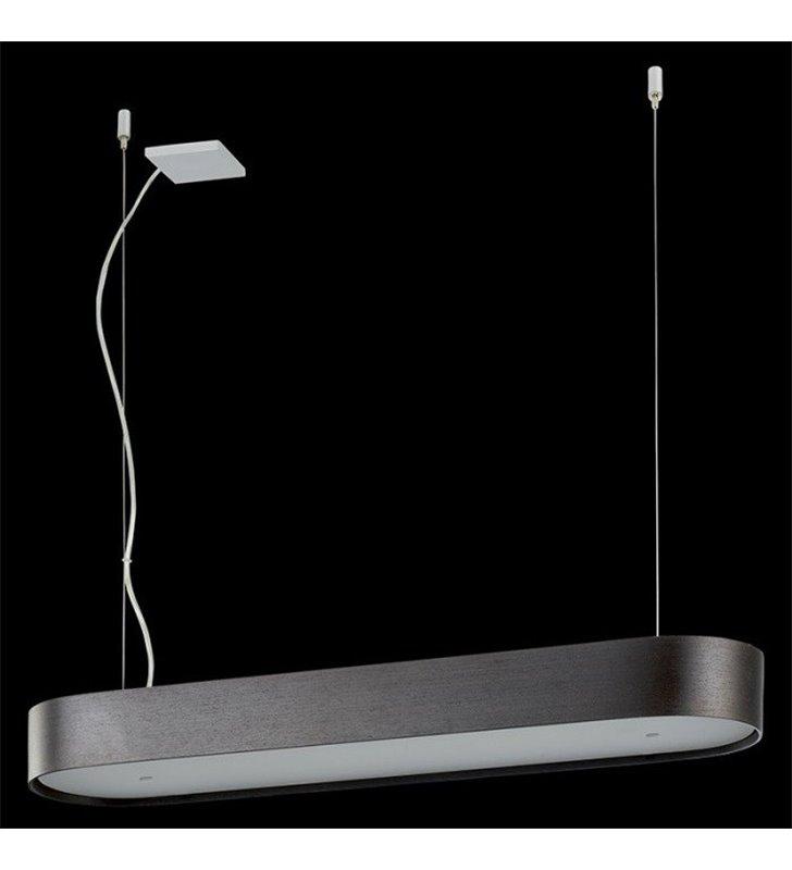 Podłużna fornirowana lampa wisząca Lungo (K) wenge nad stół do jadalni kuchni salonu sypialni do biura