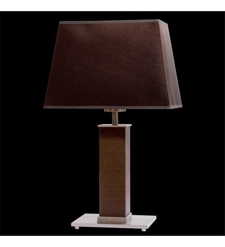 Lampa stołowa Kore (K) brązowa z fornirowaną podstawą abażur trapez