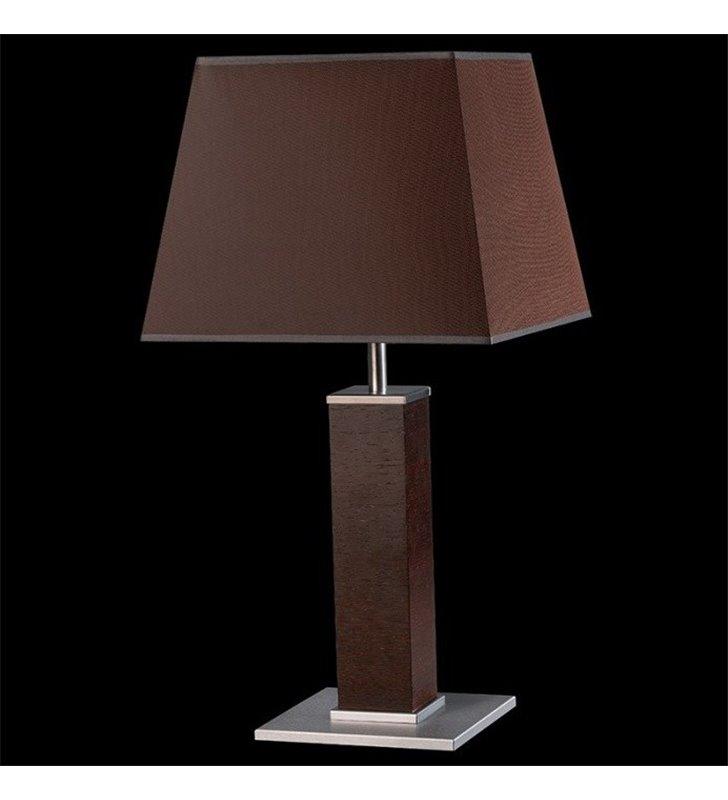 Wysoka lampa stołowa gabinetowa Kore (K) brązowa z fornirowaną podstawą abażur trapez