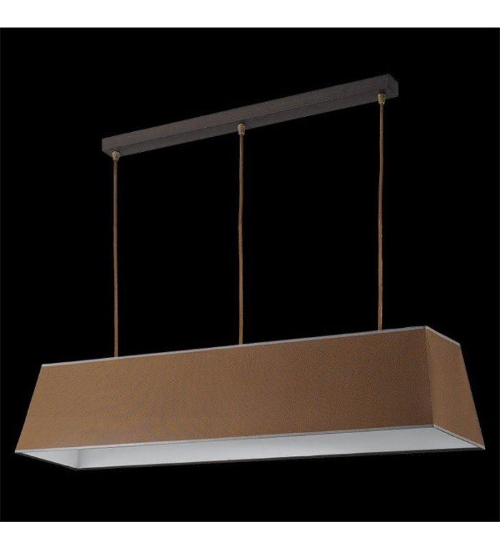 Lampa wisząca Kore (K) duża podłużna brązowa klosz materiałowy trapez do salonu sypialni jadalni kuchni nad stół