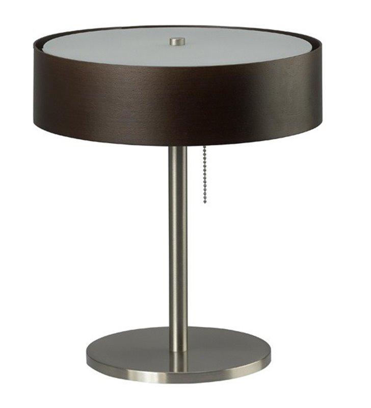 Lampa stołowa gabinetowa Kapri abażur ciemne wenge do biura sypialni jadalni salonu