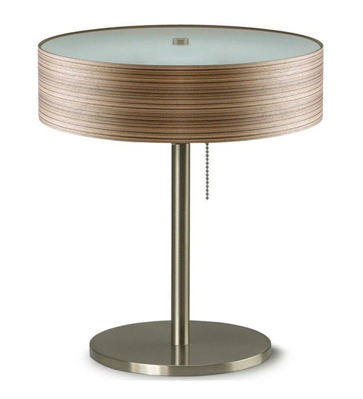 Lampa gabinetowa stołowa Kapri abażur fornir zebrano do biura sypialni jadalni salonu na komodę stolik nocny