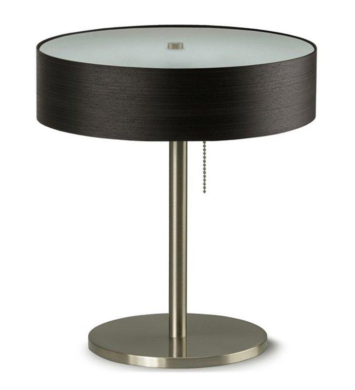 Kapri lampa gabinetowa stołowa abażur fornir heban ciemny do biura sypialni jadalni salonu na komodę stolik nocny