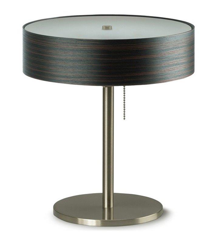 Kapri lampa stołowa lub do gabinetu z włącznikiem przy kloszu klosz okrągły fornir heban jasny