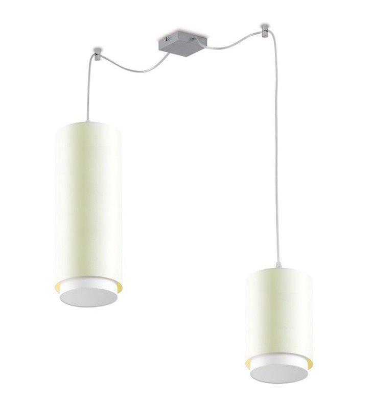 Lampa wisząca Net podwójna okrągłe klosze różnej wielkości biała z ecru