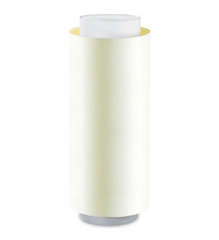 Wąska podłużna lampa stołowa Net połączenie białego abażura z ecru tuba