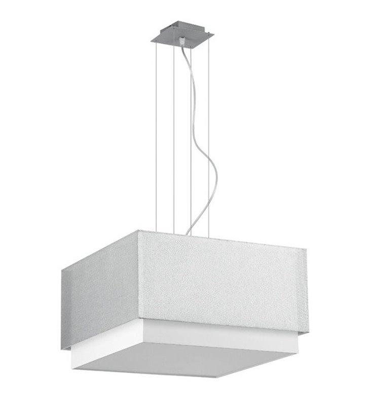 Lampa wisząca Lastra kwadratowa podwójny abażur biało srebrny do sypialni salonu kuchni jadalni nad stół