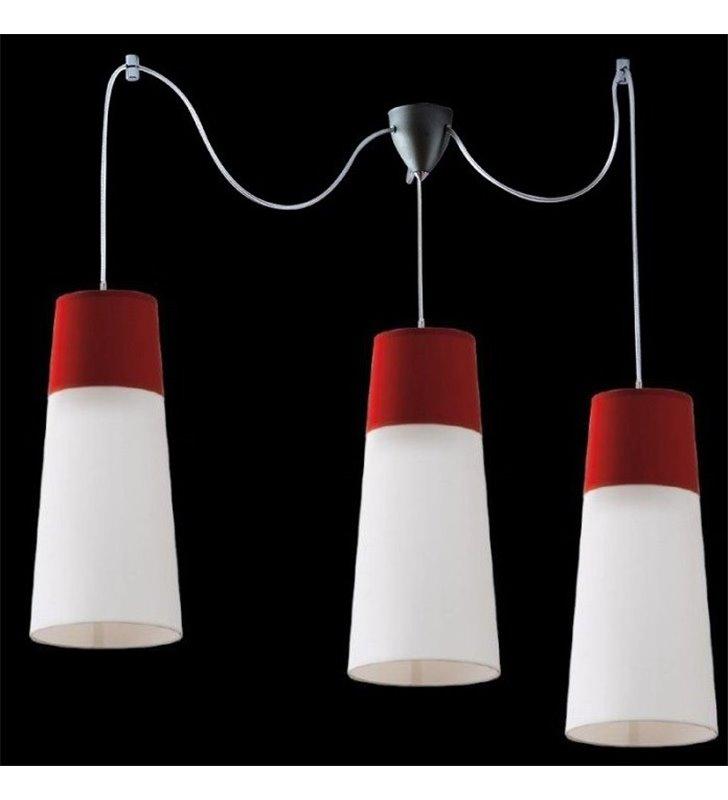 Lampa wisząca Koma potrójna biało bordowa do sypialni salonu kuchni jadalni