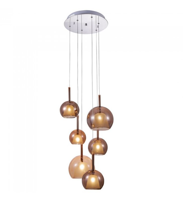Lampa wisząca Bellezia nowoczesna 6 zwisowa klosze szklane miedziane