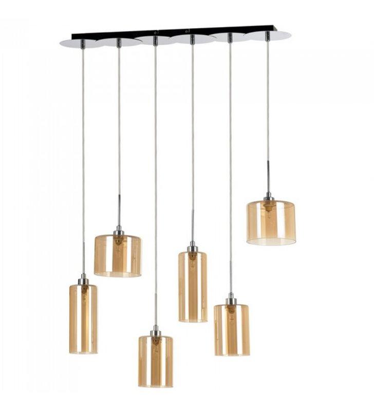 Lampa wisząca Eurybia 6 płomienna belka chrom klosze szklane w kolorze szampana nad stół do jadalni kuchni do salonu sypialni