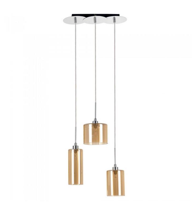 Lampa wisząca Eurybia 3 różne szklane klosze w kolorze szampana nad stół do jadalni kuchni do salonu sypialni
