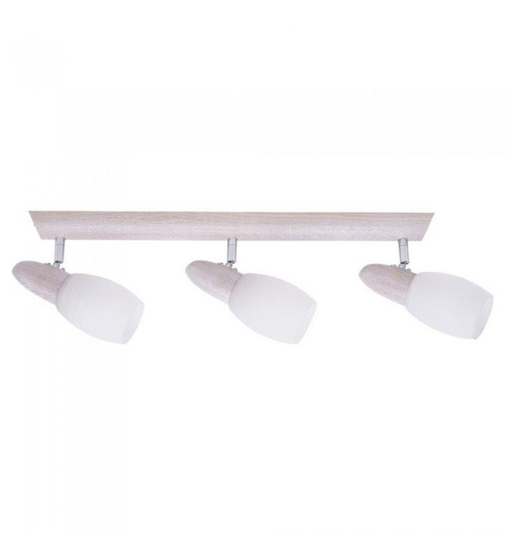 Lampa sufitowa potrójna Juliana drewniana podsufitka dąb biały klosze białe szklane