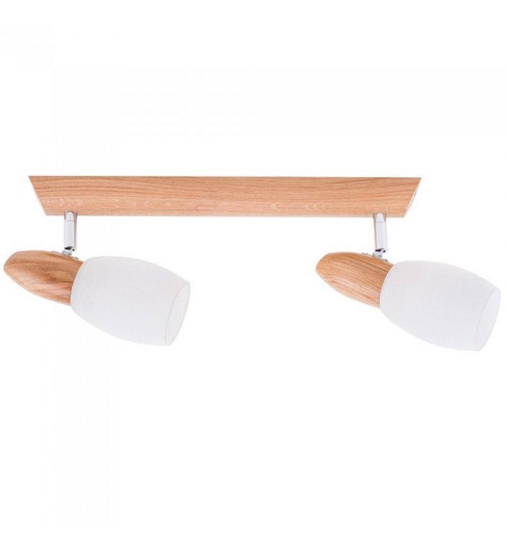 Lampa sufitowa 2 punktowa Juliana dębowa drewniana podsufitka z białymi szklanymi kloszami