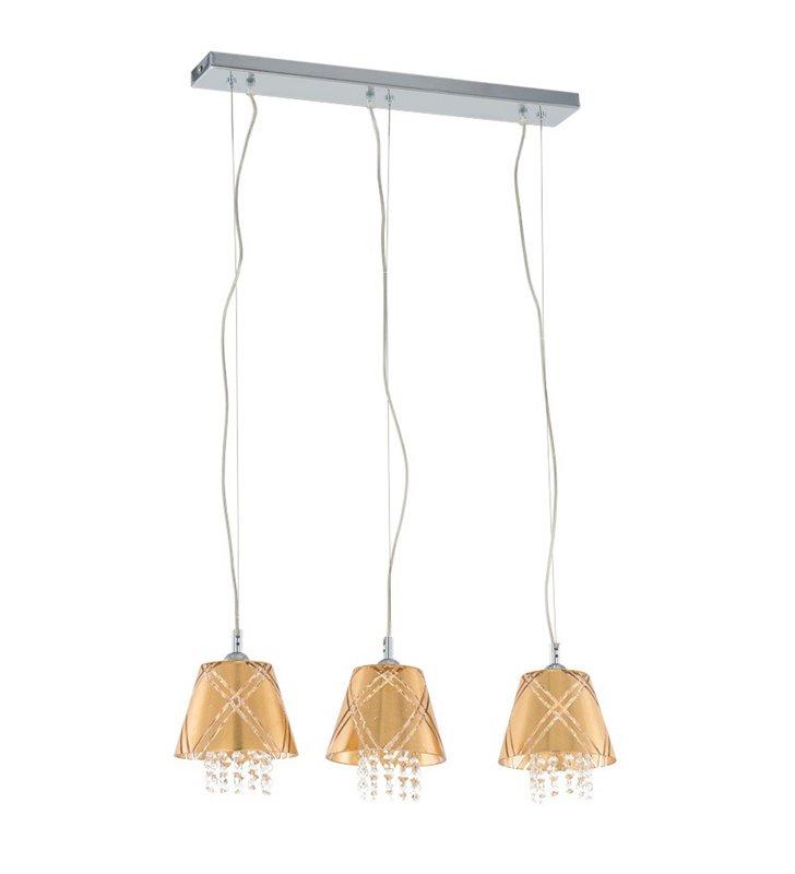 Potrójna lampa wisząca Blaze złote szklane klosze z kryształkami nad stół wyspę kuchenną do salonu sypialni jadalni kuchni