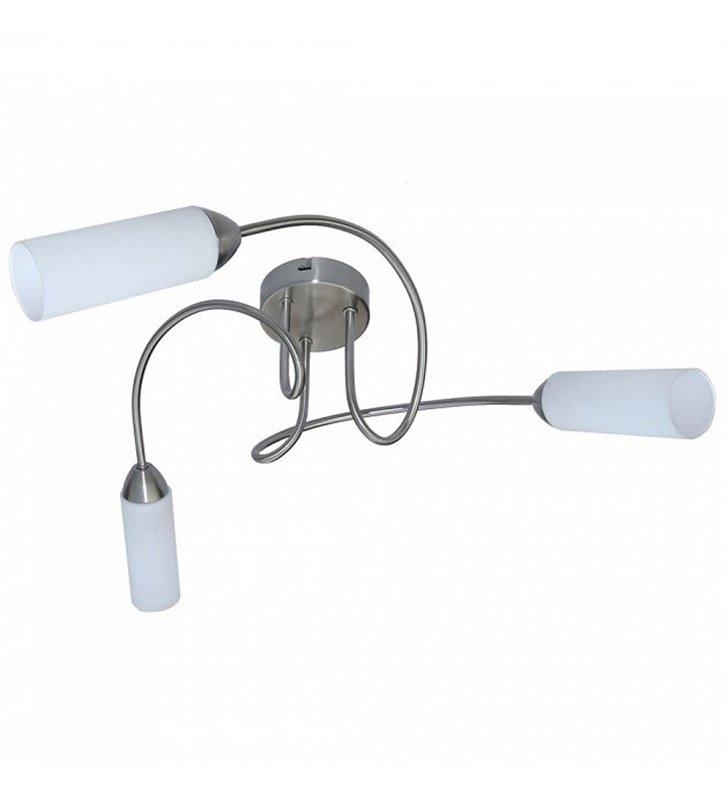 Lampa sufitowa żyrandol Orlanda nowoczesna potrójna satynowa z białymi kloszami