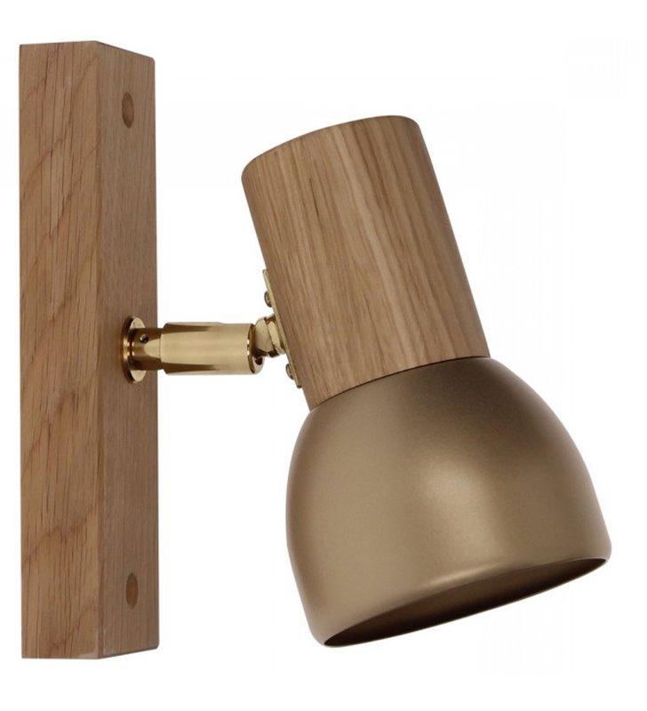 Kinkiet Svenda drewniany korpus dąb oliwiony ze złotym wykończeniem