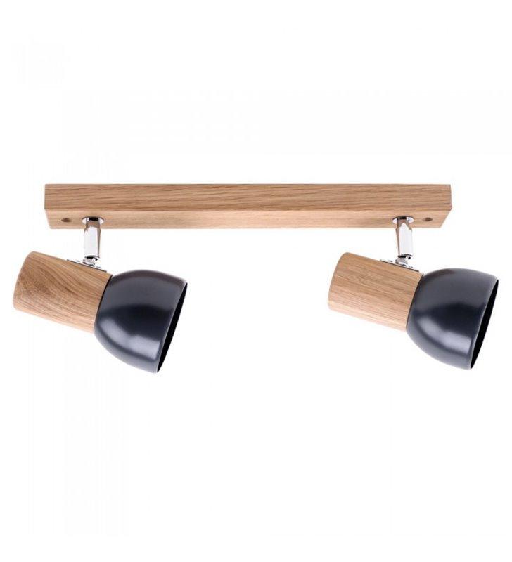 Drewniana dębowa 2 punktowa listwa sufitowa Svenda do salonu sypialni jadalni na przedpokój styl skandynawski