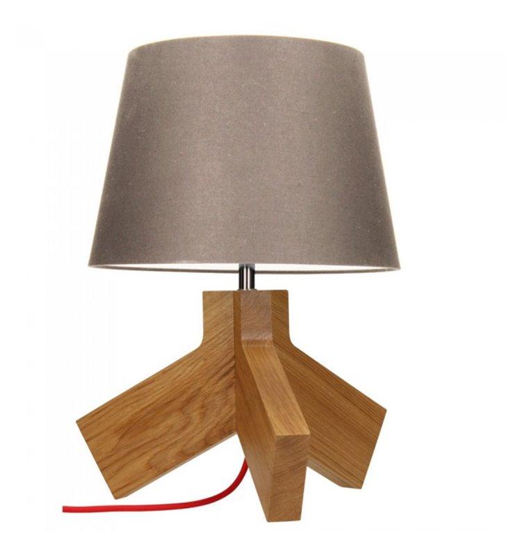 Lampa stołowa Tilda drewniana dębowa podstawa abażur taupe czerwony kabel
