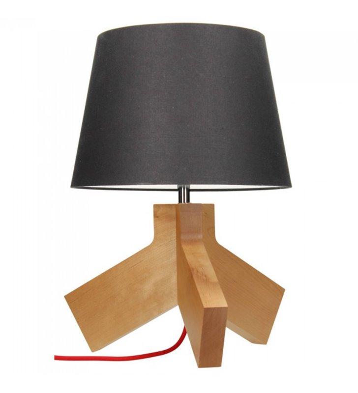 Lampa stołowa Tilda drewniany brzozowy trójnóg abażur kolor antracyt czerwony przewód